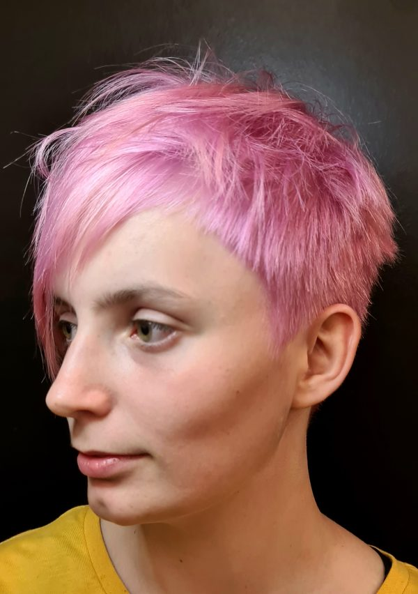 Zig Zag Hair Design - Pink Female Style Funky Hair