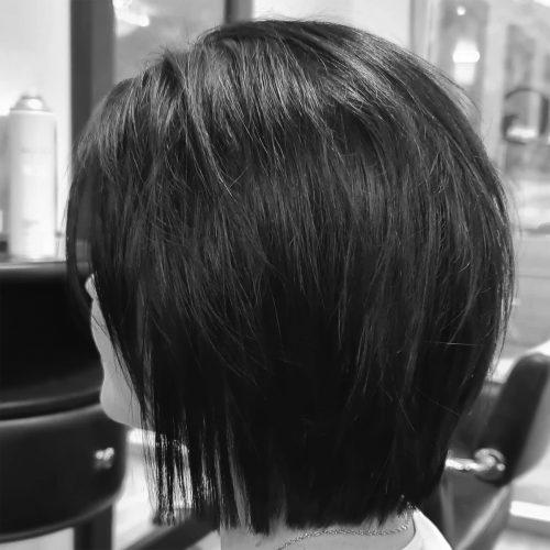 Zig Zag Hair Design - Clean brunette bob cut