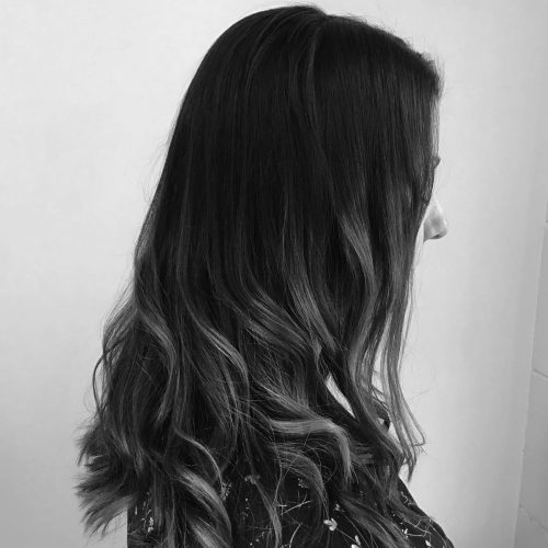 Zig Zag Hair Design - Long brunette style hair